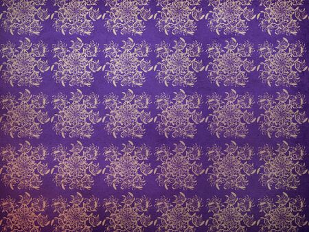swill: Illustration of abstract vintage floral pattern on violet background. Stock Photo