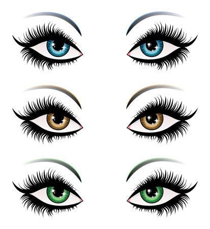 eyebrow makeup: Illustrazione di donna, occhi di colore diverso, con lunghe ciglia.