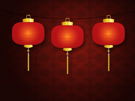 Illustration of red Chinese traditional paper lanterns. illustration