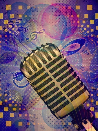 Illustration of abstract colorful funky musical background with retro microphone. Stock Illustration - 16798689