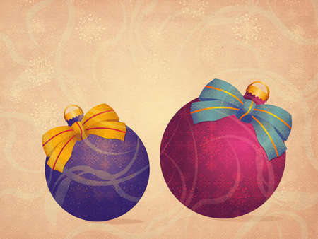 Illustration of two colorful Christmas balls on grunge background. illustration