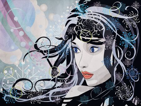 Illustration of abstract grunge portrait of winter girl background. Stock Illustration - 16827886