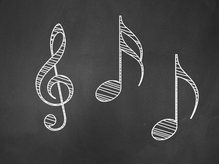 Illustration of hand drawn music notes on blackboard background. Stock Photo