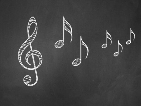Illustration of hand drawn music notes on blackboard background. illustration