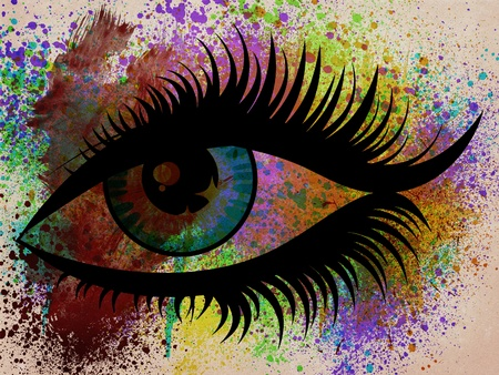 Illustration of abstract colorful grunge eye on painted background. illustration
