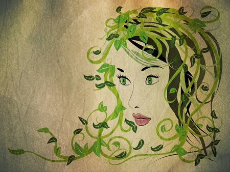 Illustration of spring girl portrait with green floral hair grunge background. Stock Illustration - 16875896