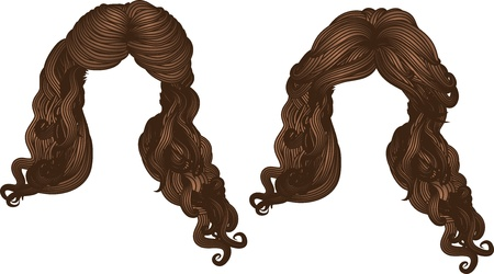 Illustration of hand drawn curly hair style of brown color.
