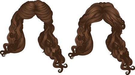Illustration tirée par la main de style de cheveux bouclés de couleur brun.