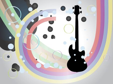 Illustration of abstract background with guitar and colorful lines. Vector