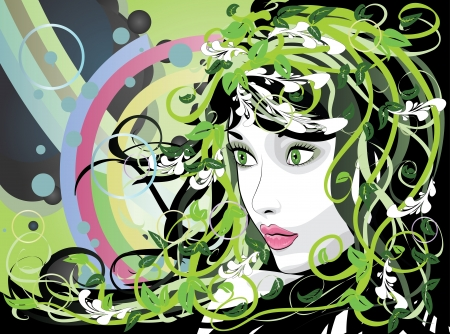 Illustration of spring girl portrait with green florals. Vector