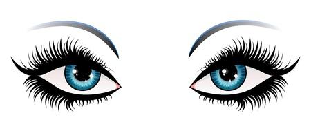 eyebrow makeup: Illustrazione di occhi donna con ciglia lunghe.