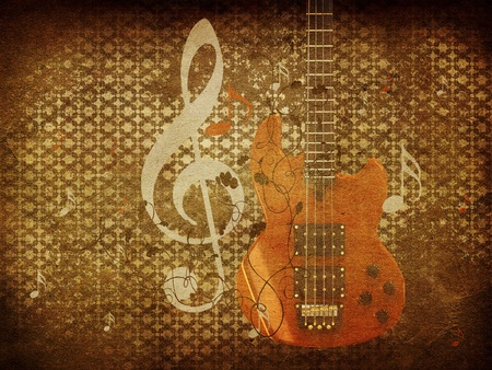 Illustration of abstract grunge retro musical background with guitar. illustration