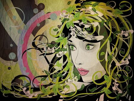 Illustration of spring girl portrait with green florals grunge background. Stock Illustration - 16939702