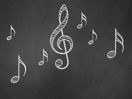Illustration of hand drawn music notes on blackboard background. Stock Illustration - 16939696