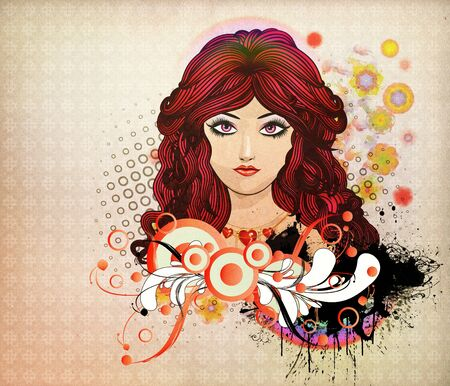 Illustration of girl with red hair and flourish abstract background. Stock Illustration - 16939725