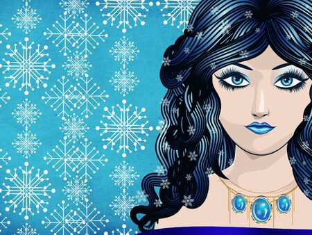 Illustration of abstract winter girl on snowflake texture background. Stock Illustration - 16939699