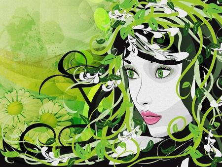Illustration of green floral girl on grunge background. Stock Illustration - 16954049