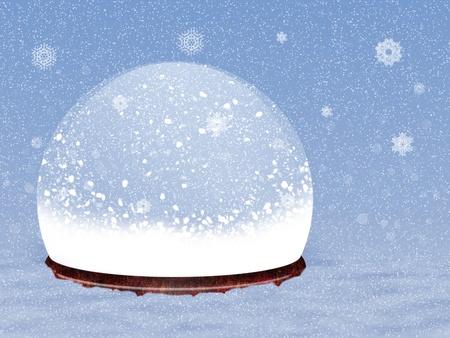 Illustration de globe de neige magique sur fond de neige. Banque d'images - 16954040
