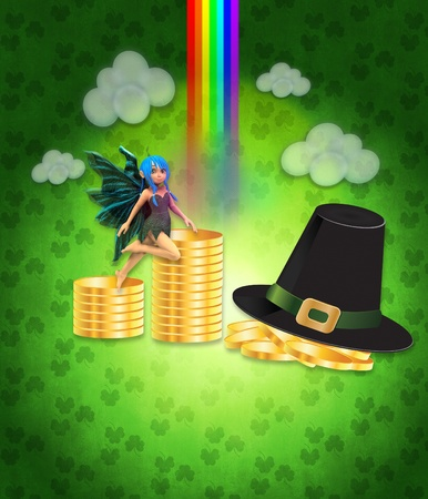 Illustration of St Patricks day background with coins and fairy. Stock Illustration - 16954046