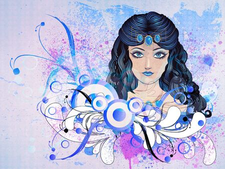 Illustration of a girl with blue hair on floral background. illustration