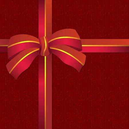 Illustration of shiny red ribbon bow on red background illustration