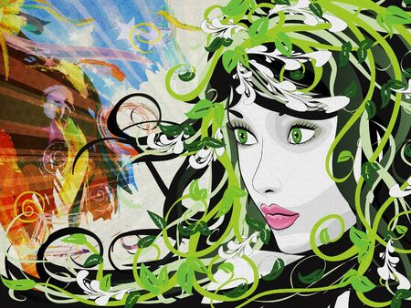 Illustration of green floral girl on grunge background. Stock Illustration - 17009476