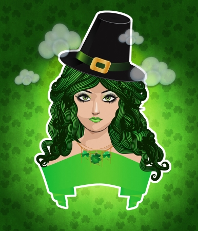 clover face: Illustration of girl with green hair and hat, leprechaun girl.