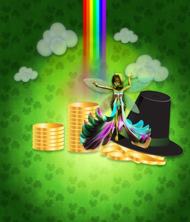 Illustration of St Patricks day background with coins and fairy. Stock Illustration - 17009470
