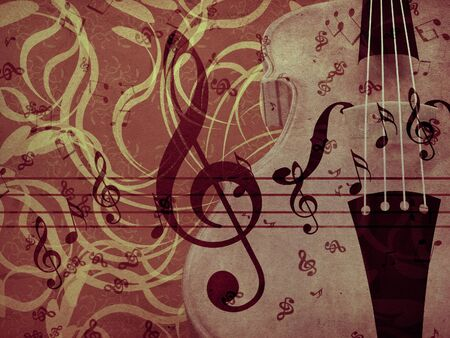 Illustration of violin on vintage floral background. illustration