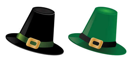 Illustration of St. Patrick's day green and black hats of a leprechaun. Stock Vector - 17009421