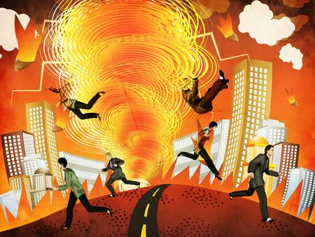 pulled: Illustration of people pulled into a fire tornado background.
