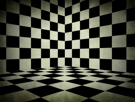Illustration of grunge black and white checker room background. illustration