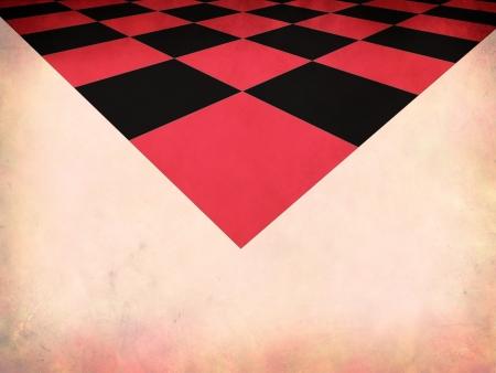 checker board: Ilustraci�n del grunge rojo tablero de ajedrez sobre el papel, fondo abstracto.