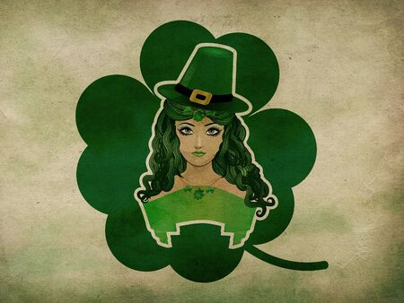 leprechauns hat: Illustration of a girl with green hat and ribbon grunge background. Stock Photo