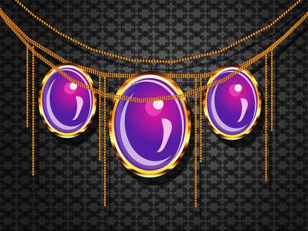 joyas de oro: Ilustración de la joyería púrpura sobre fondo oscuro fondo de pantalla gris.