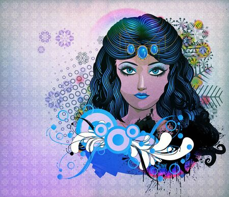 Illustration of a girl with blue hair on snowflakes background. illustration