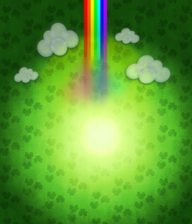 Illustration of abstract St Patricks day background with rainbow. Stock Illustration - 17039208