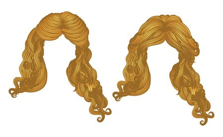 wind blown hair: Illustration of hand drawn curly hair style of yellow color. Stock Photo