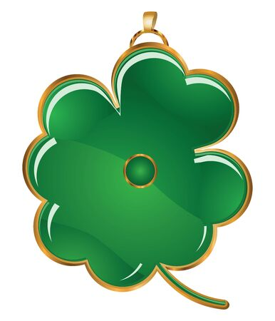 Illustration of four leafs green shamrock as the jewelry. illustration
