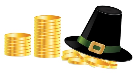 Illustration of black leprechaun hat and golden coins. Stock Illustration - 17058315