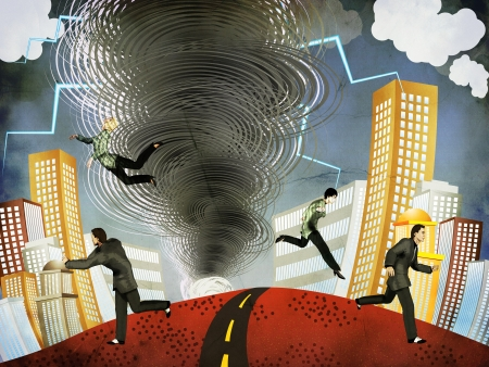 Illustration of big tornado with lightnings and people background. Stock Illustration - 17059366