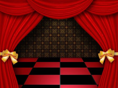 Illustration of royal hall with red curtains and checkered tiles background. illustration