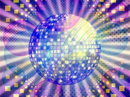 Illustration of abstract colorful funky musical background with disco ball. illustration