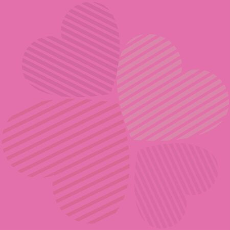 Illustration of striped hearts on pink Valentines Day background. illustration