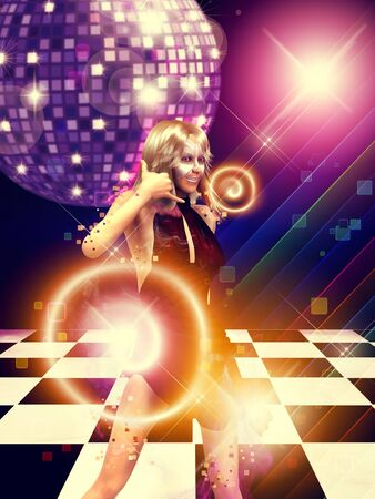 Illustration of 3d blonde girl on dance floor with disco ball background. illustration
