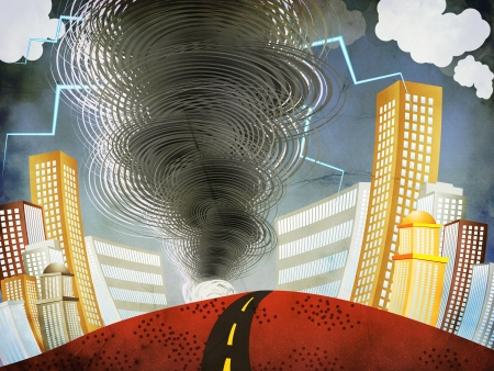 Illustration of big tornado with lightnings in the city grunge background. Stock Illustration - 17125987