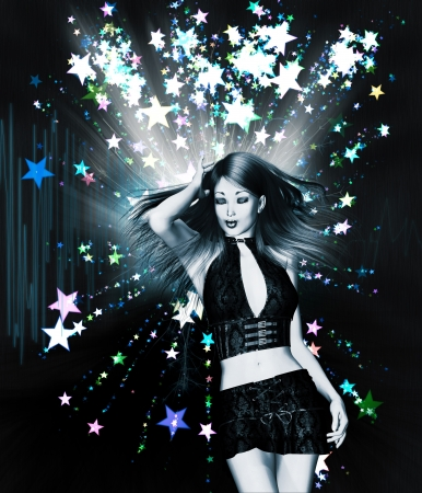 Illustration of girl dancing on colorful stars background. Stock Illustration - 17125985