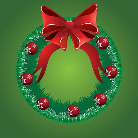 Illustration of Christmas wreath with big red bow and balls on green background. Stock Vector - 17162731