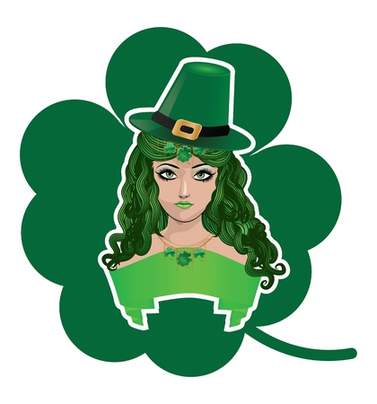 leprechauns hat: Illustration of a girl with green hat and ribbon background.