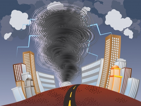 Illustration of big tornado with lightnings in the city background. Vector